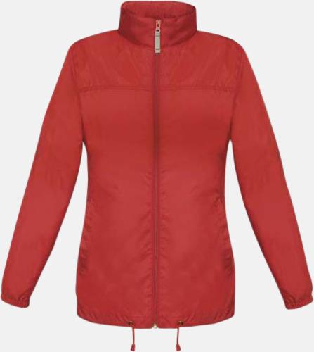 Röd (dam) Vind- och vattentäta jackor för dam, herr och barn - med tryck