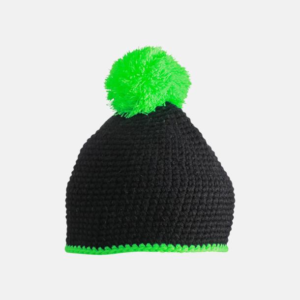 Svart/Neongrön Toppluvor med rand och toft i annan färg - med bordyr