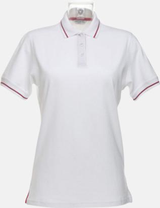 Vit/Röd (dam) Tvåfärgade pikétröjor i herr- och dammodell med reklamtryck