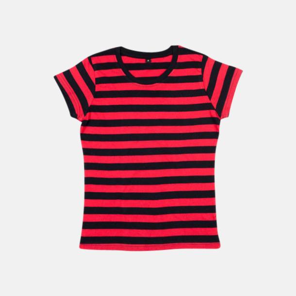 Svart/Röd (dam) Randiga t-shirts i herr-, dam- och barnmodell med reklamtryck