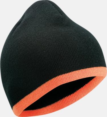 Svart/Orange Stickad mössa med eget tryck