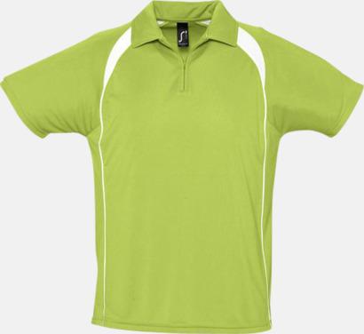 Apple Green/Vit Färgglada pikétröjor i funktionsmaterial med tryck
