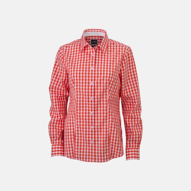 Mörkorange/Vit (dam) Rutiga bomullsskjortor & -blusar med reklamtryck