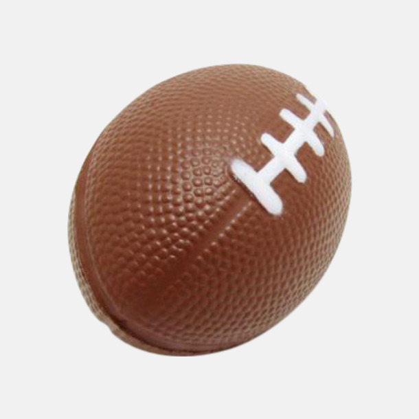 Stressbollar formade som amerikanska fotbollar med reklamtryck