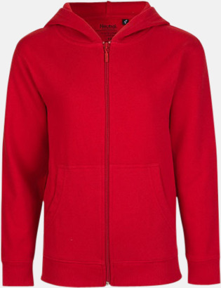 Röd (med blixtlås) Ekologiska barntröjor med eller utan blixtlås - med reklamtryck