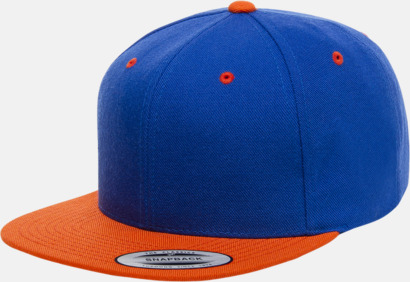 Royal/Orange Snapback kepsar med flexfit - med reklamtryck