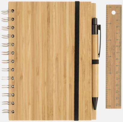 Ljust trä Spiralblock i bambu med tillbehör med reklamtryck