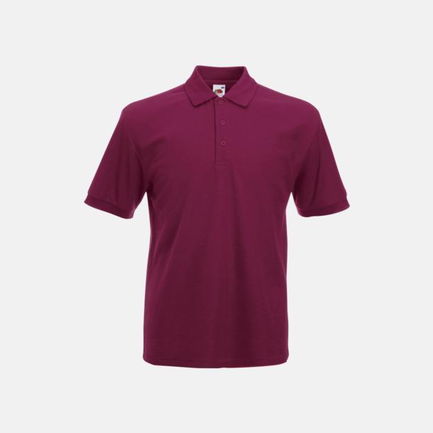 Burgundy Pikétröjor med tryck eller brodyr