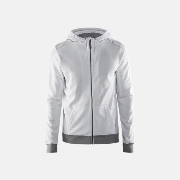 Vit/Platinum/Grey Melange Tränings huvtröjor med dragkedja med reklamtryck