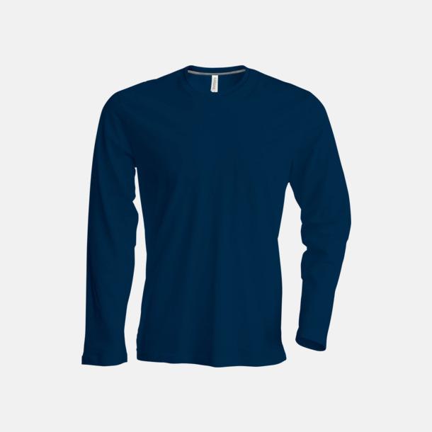 Marinblå (crewneck, herr) Långärmad t-tröja med rundhals för herr och dam med reklamtryck
