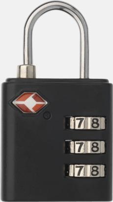 Svart TSA-godkända hänglås med reklamtryck