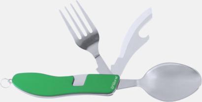 Grön Fickkniv med bestick - med reklamtryck