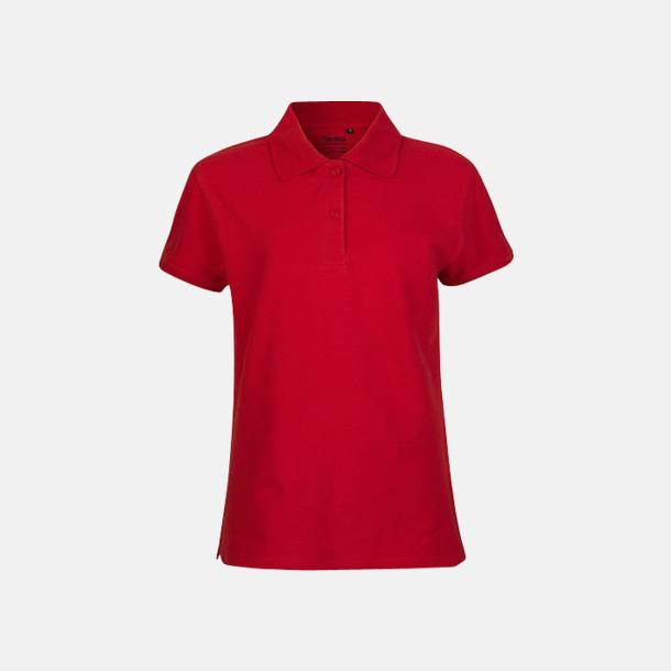 Röd (dam) Fairtrademärkta pikétröjor i herr- och dammodeller med brodyr