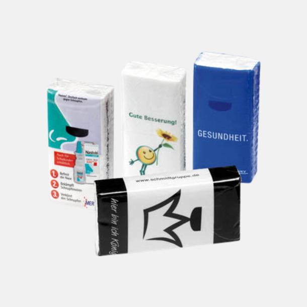 Transparent Näsdukar förpackade i plastboxar - med reklamtryck