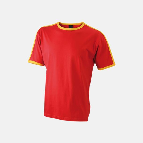 Röd/Gold Yellow (herr) T-shirts med kontrastfärger - med reklamtryck