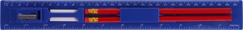 Blå Linjal med pennor, vässare och sudd - med tryck