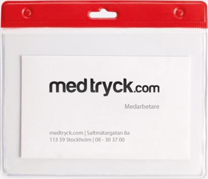 Röd ID-fodral med reklamtryck