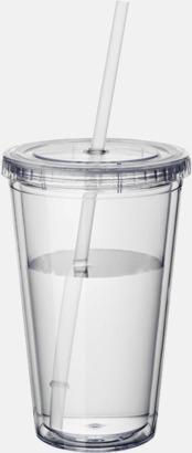 Transparent Plastmuggar med lock och sugrör - med tryck