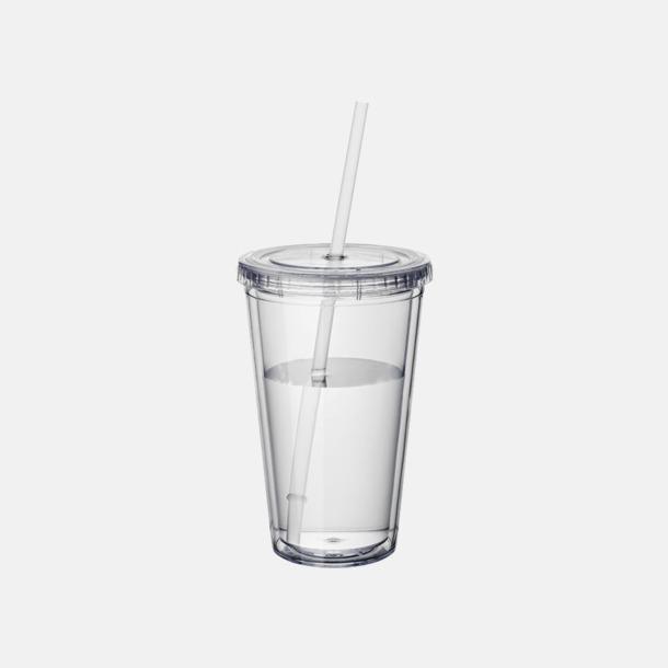 Transparent Plastmuggar med lock och sugrör - med reklamtryck