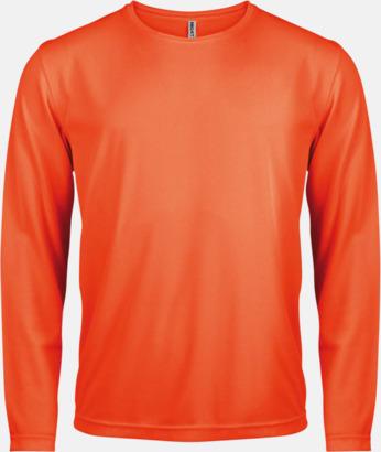 Floucerande Orange Sport t-shirts med långa ärmar för män - med reklamtryck