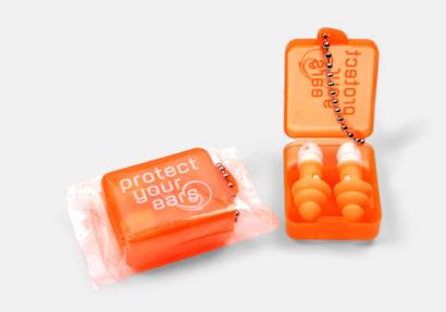 Orange Öronproppar i plastask med tryck