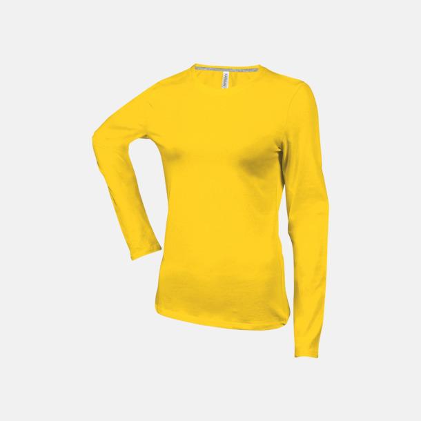 Gul (crewneck, dam) Långärmad t-tröja med rundhals för herr och dam med reklamtryck