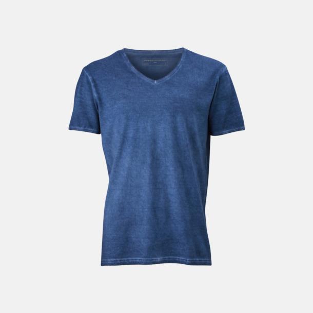 Denim (herr) Trendiga v-neck t-shirts i herr- och dammodell med reklamtryck
