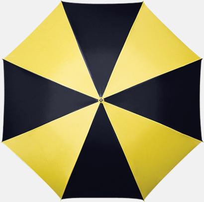 Svart / Gul Randigt paraply med ergonomiskt trähandtag