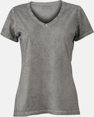 Grå (dam) Trendiga v-neck t-shirts i herr- och dammodell med reklamtryck