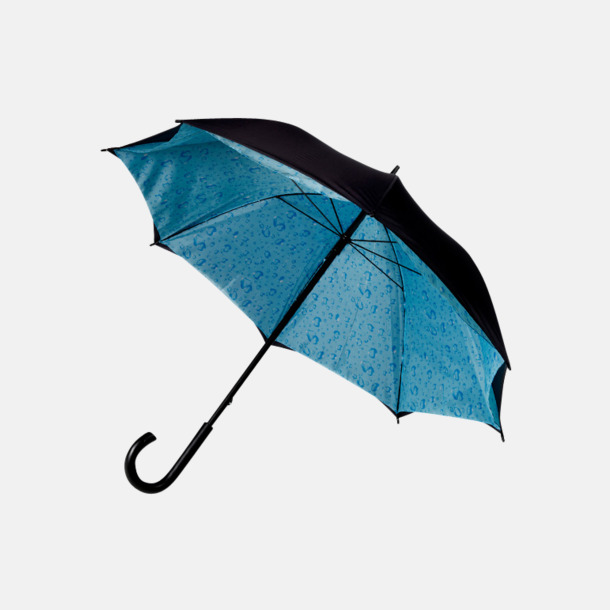 Ljusblå / Svart Paraply med väder på insidan