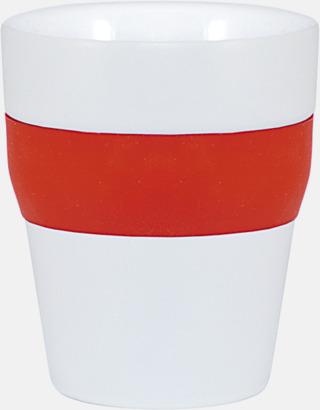 Vit / Röd Robusta take away-muggar med silikonsleeve