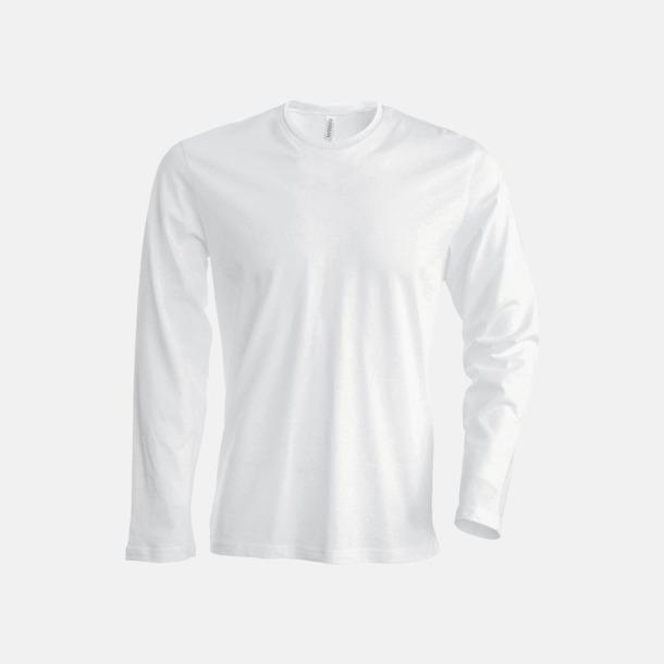 Vit (crewneck, herr) Långärmad t-tröja med rundhals för herr och dam med reklamtryck