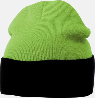 Limegrön/Svart Mössor med uppvik i kontrasterande färg - med reklambrodyr
