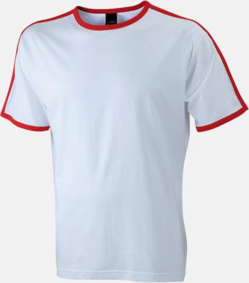 Vit/Röd (herr) T-shirts med kontrastfärger - med reklamtryck