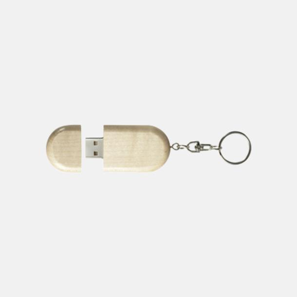 Ljust trä Ovalt eko USB-minne med eget tryck