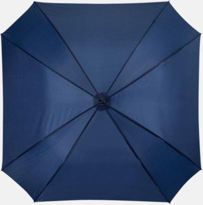 Marinblå Billiga paraplyer i fyrkantig form - med reklamtryck