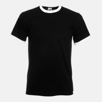 Svart/Vit T-shirt med kontrasterande färger - med reklamtryck