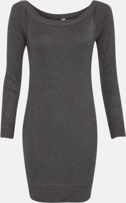 Dark Grey Heather Långärmade klänningar med reklamtryck