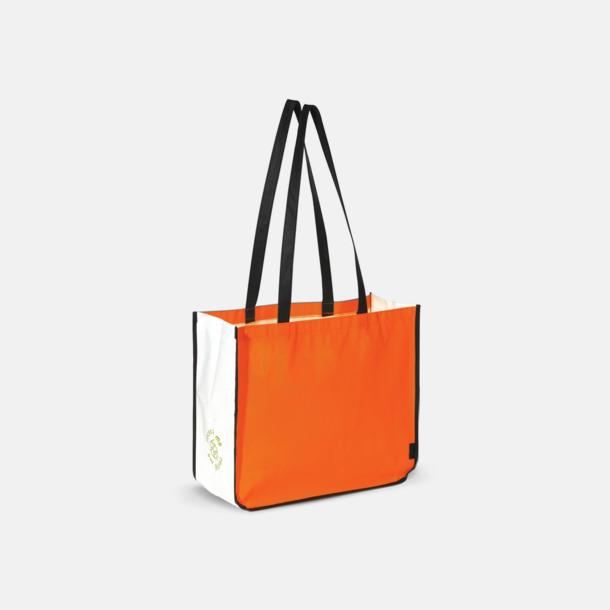 Orange Stor kasse av non woven-material med reklamtryck