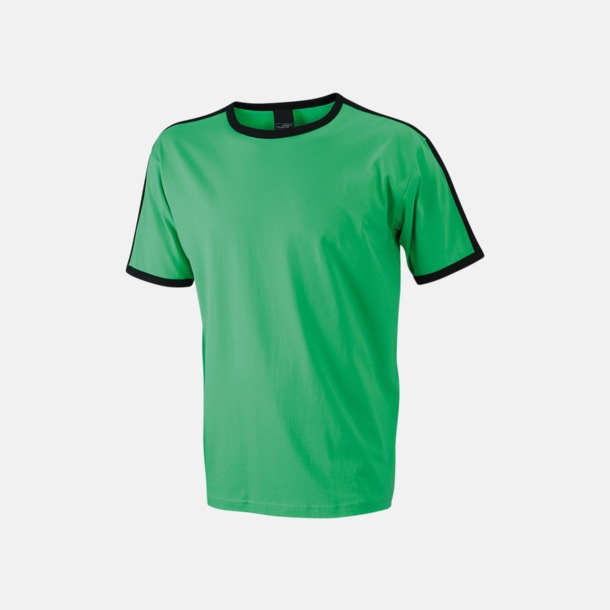 Frog/Svart (herr) T-shirts med kontrastfärger - med reklamtryck