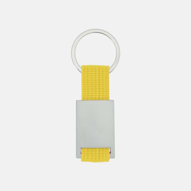 Gul / Silver Metallnyckelringar med färgade polyesterband med gravyr