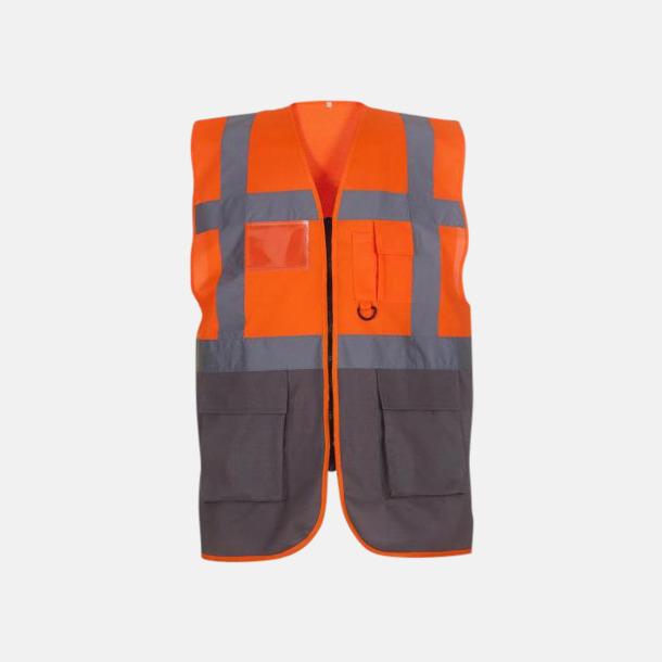Hi-Vis Orange/Grå Varselvästar med 2-färgade modeller - med reklamtryck