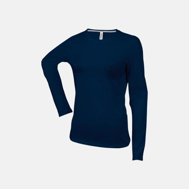 Marinblå (crewneck, dam) Långärmad t-tröja med rundhals för herr och dam med reklamtryck