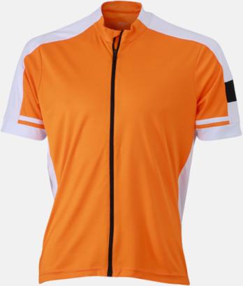 Orange (herr) Herr- och damcykeltröjor med hel dragkedja - med reklamtryck