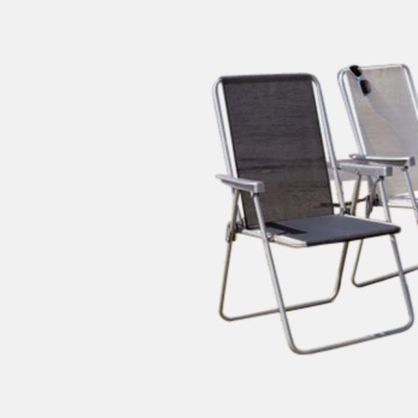 Svart 1-lägesstol av campingmodell med reklamtryck