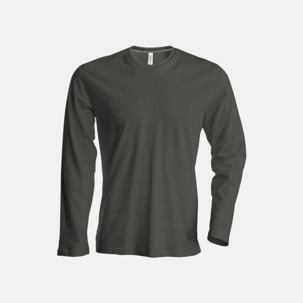 Dark Khaki (crewneck, herr) Långärmad t-tröja med rundhals för herr och dam med reklamtryck