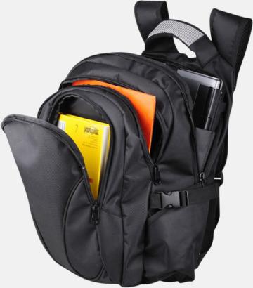 Svart laptopryggsäck med eget tryck