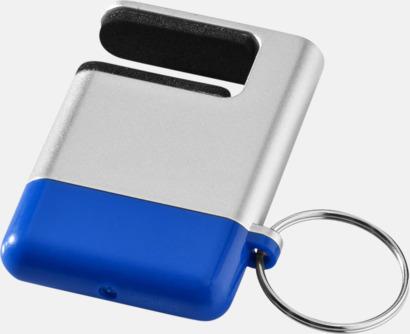 Silver / Blå Skärmrengörare, ställ och nyckelring - med reklamtryck