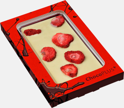 Jordgubb (vit choklad) Lyxiga chokladkakor i många smaker med reklamtryck