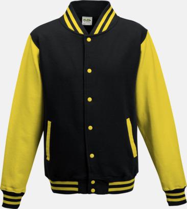 Jet Black/Sun Yellow Trendiga varsity-jackor med tryck